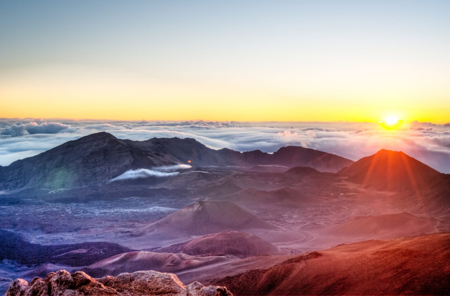 Sunrise over Haleakala volcano crater on Maui, Hawaii - things to do Maui