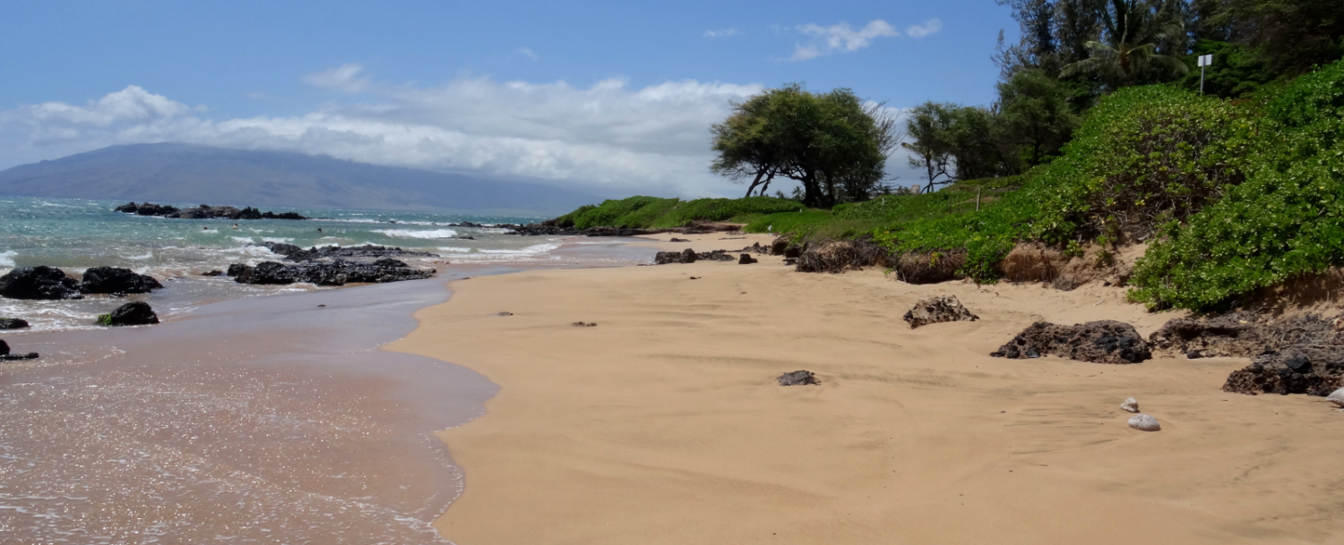 View of the sand at Kamaole Beach Park
