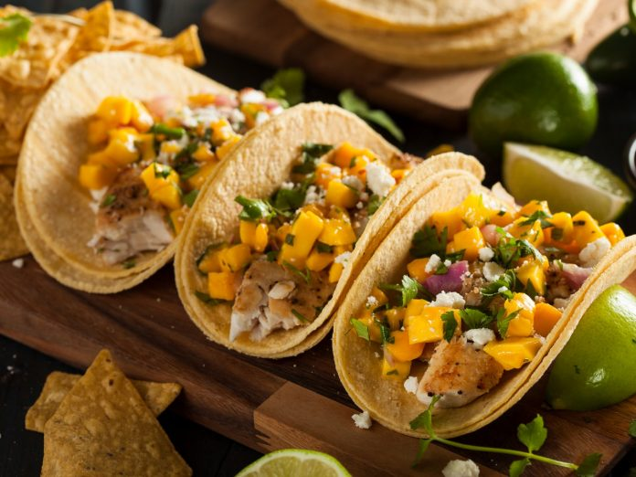 Homemade Baja Fish Tacos with Mango Salsa and Chips | Fish tacos on Maui