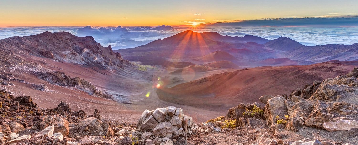 top of Haleakala crater at sunrise