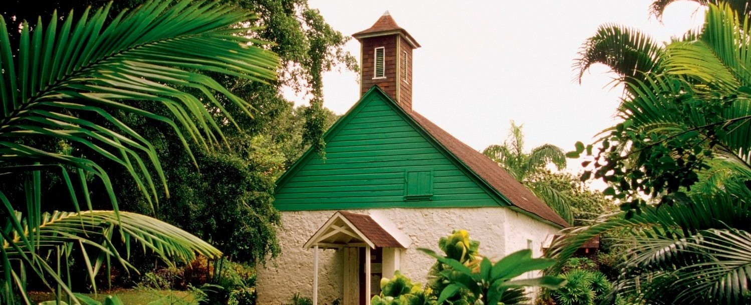 View of a church in the jungle of Upcountry Maui