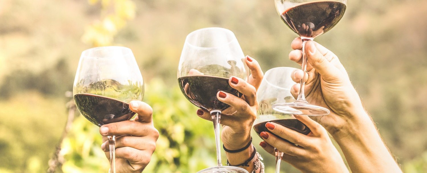 Maui Wineries hands cheering with red wine