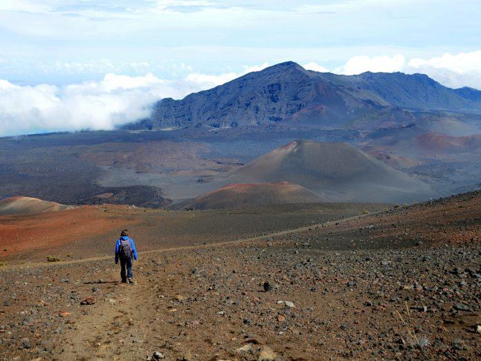 Woman hiking at Haleakala National Park on Maui