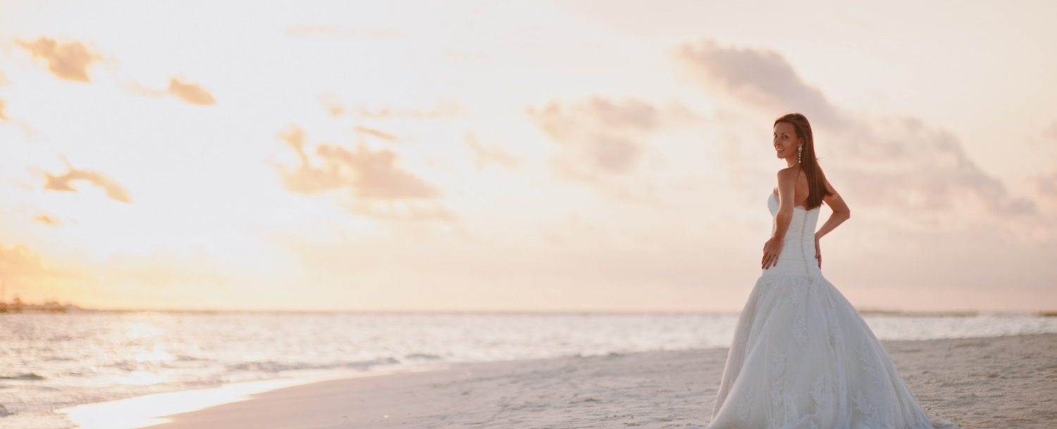 Bride on the beach for Maui Elopement