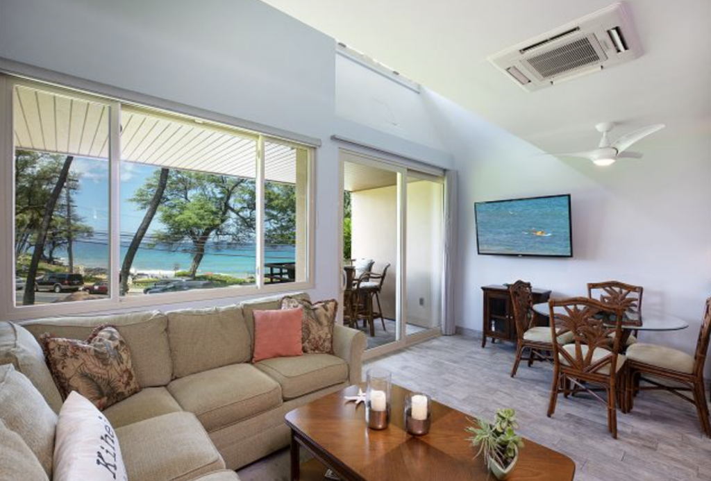 View of the living room in Kamaole Beach Club, one of the best plays to stay for Maui getaways